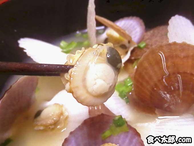 帆立稚貝(ベビーホタテ)の味噌汁のウロ