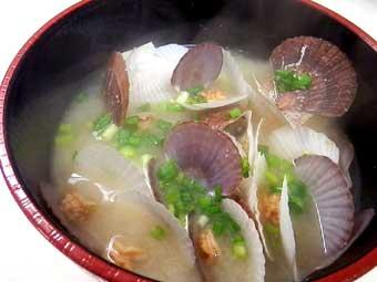 帆立稚貝の味噌汁