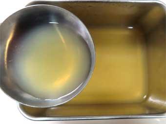 濾した帆立稚貝の出汁