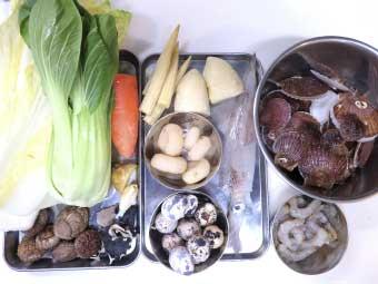 帆立稚貝の海鮮八宝菜に使う材料