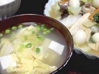 帆立稚貝(ベビーホタテ)八宝菜とかきたま汁