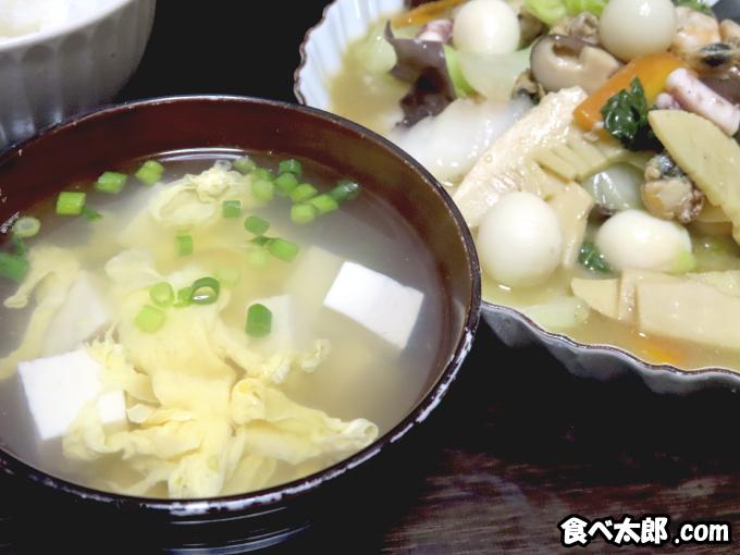 帆立稚貝(ベビーホタテ)の海鮮八宝菜とかきたま汁