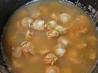 帆立稚貝の炊き込みご飯の具材