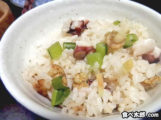 帆立稚貝とタコの炊き込みご飯