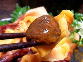 海鞘(ホヤ)の肝膵臓は苦味あり