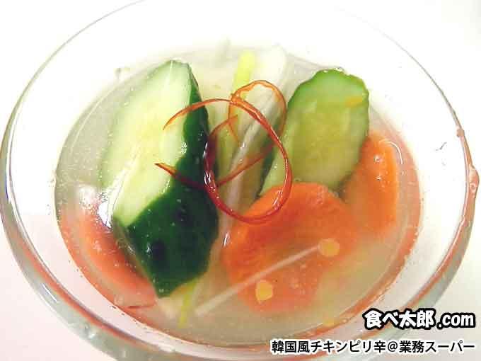 韓国風チキンピリ辛(業務スーパー)のスープで水キムチ