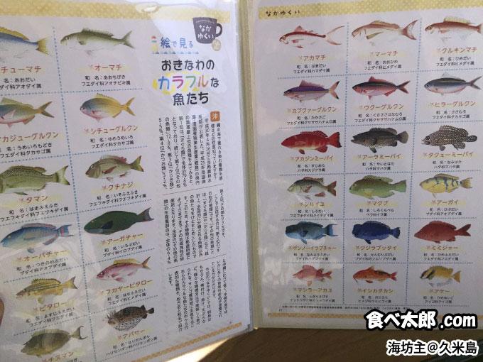 海坊主のメニューにあるお魚図鑑