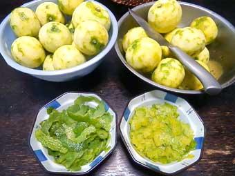 柚子胡椒に使う柚子の皮を色で分ける