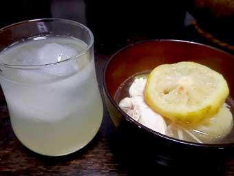 柚子鍋と柚子ハイ